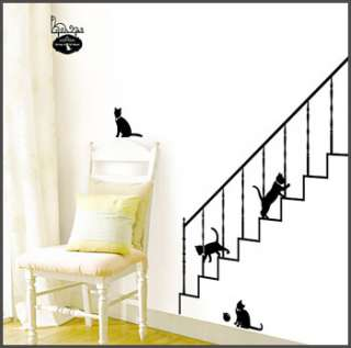 WALL DECALS MURAL VINYL ART STICKERS STAIRWAY CAT #324