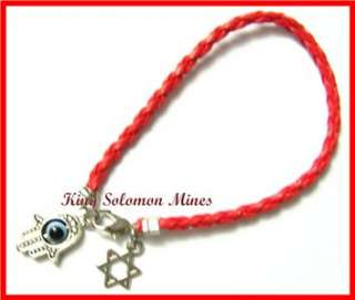 RED STRING LEATHER KABALAH HAMSA EVILEYE BRACELET GOD WITH STAR OF