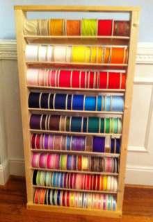 Wooden Ribbon Spool Roll Storage Shelf Organizer Rack