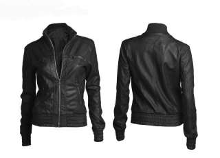Womens Punk Motorcycle Bomber Biker Rider Faux PU Leather Jacket