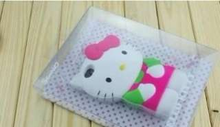 iPhone 4 4S 3D Hello Kitty Silicon Hard Case/Cover Light Green/Rose