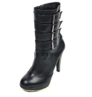 Womens Cool Multi buckles High Heels Platform Shoes Mid calf Boots