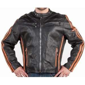 Mens Black Leather Motorcycle Jacket, Orange Racing Stripes, Jackets