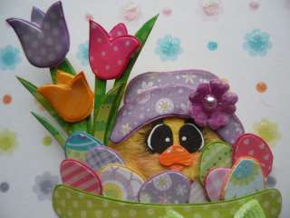 CHICK w/TULIPS in bowl of EGGS Tear Bear Paper Piecing CSPT 3pw