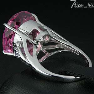 46.00 CT. PINK TOPAZ STERLING SILVER 925 RING SIZE 7.50  