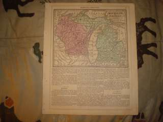 1852 ANTIQUE MICHIGAN WISCONSIN ILLINOIS MISSOURI MAP N
