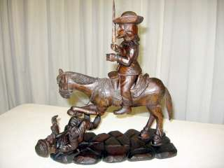 Old Folk Art Wood Carving Personifies Of Don Quixote