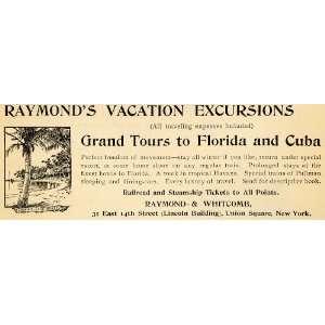 1895 Ad Raymond Whitcomb Vacations Tours Florida Cuba   Original Print