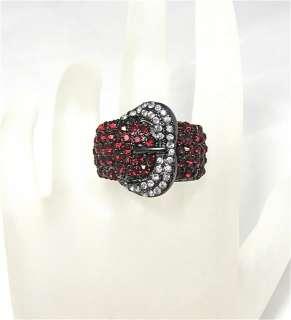 Red Crystal Gun Metal Belt Buckle Stretch Ring 7 9