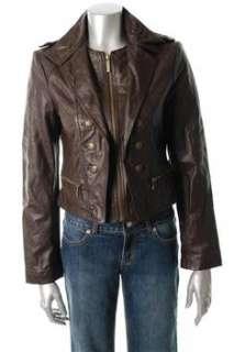 FAMOUS CATALOG Moda Brown Jacket Leather Coat Sale Misses M
