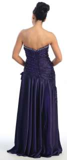 Strapless Satin Rhinestone Prom Dress Long Gown #5713