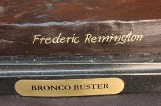 Frederic Remington Bronze Statue Cowboy Horse on Marble Sculpture