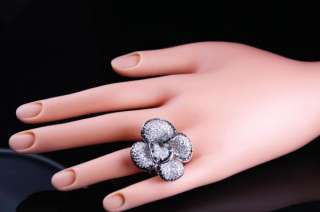 EXQUISITE BLACK & WHITE LARGE CAMELLIA FLOWER SILVER RING, SIZE 6