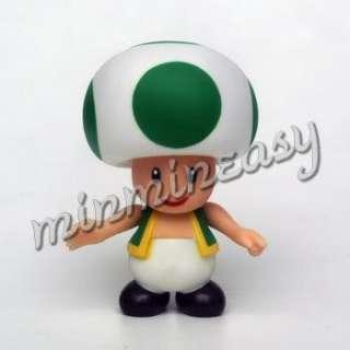5pcs Nintendo Wii Super Mario Toad 3.5 (9 cm) Figure #
