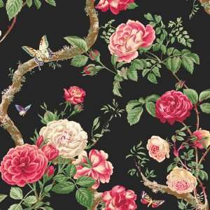 Ravenglass Butterfly Floral Black Wallpaper in Shand Kydd