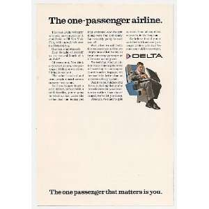 1968 Delta Airlines The One Passenger Airline Print Ad