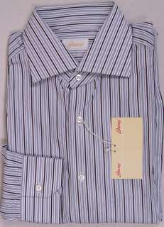BRIONI SHIRT $565 WHITE/BROWN/BLACK STRIPED DRESS SHIRT 17 / 34 43e