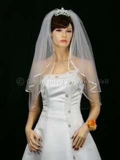 2T White Wedding Bridal Elbow 1/4 Ribbon Edge Veil