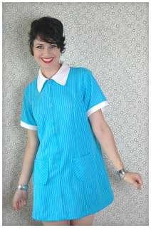 American WAITRESS Diner Striped Zipper RETRO Pinup VTG Pocket Dress L