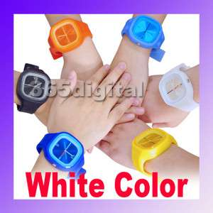 Silicone Unisex Wrist Sports Quartz Rubber Jelly Watch White
