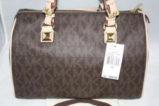 Auth MICHAEL Michael Kors Grayson Large Logo Satchel Brown Handbag