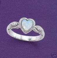 NEW 14kt White Gold Opal Heart Ring