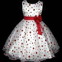 Red Wedding Pageant Prom Party Flowers Girls Dress 7 8T