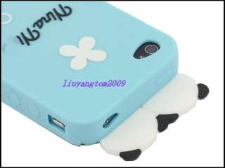 Blue Cute PANDA Soft Silicon Back Case Cover skin for iPhone 4 4G