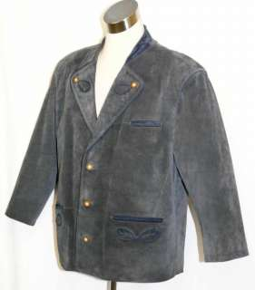 BLUE ~ LEATHER Men GERMAN Trachten Hunting Ranch Western JACKET Over