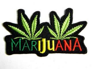 MARIJUANA LEAF WEED DRUG IRON ON PATCH EMBROIDERED I098