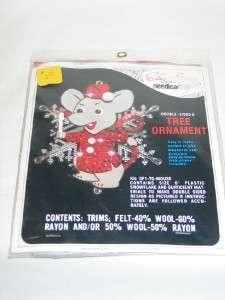 Looney Felt Beaded Sequin Christmas Ornament Kit Mouse IOP T30