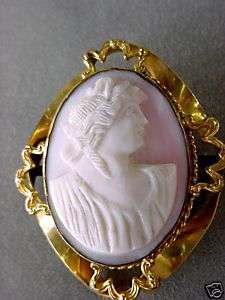 Victorian GF carved pink Conch shell cameo large 2 1/4