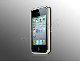 Deluxe Hard Case Cover Chrome Front & Stand for Apple iPhone 4 4