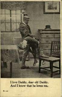 Man Spanking Little Boy w Ruler CHILD ABUSE c1910 Postcard