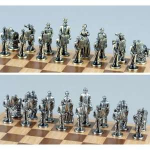 Silver & Bronze Pewter Civil War Chess Set: Toys & Games