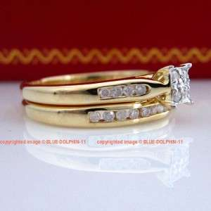Natural Diamonds Solid 9ct Yellow Gold Engagement Wedding Rings Set