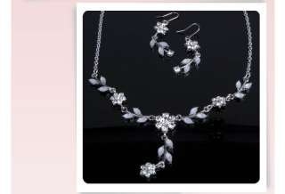 Wedding Bridal 14K white GOLD GP NECKLACE EARRINGS SETS