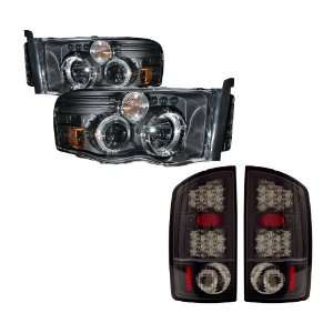 02 05 Dodge Ram Black LED Halo Projector Headlights /w Amber + LED