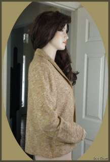 ST JOHN COUTURE Novelty Knubby Knit Gold Tone Jacket 12