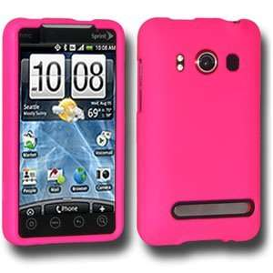 New Amzer Rubberized Hot Pink Snap On Crystal Hard Case For HTC EVO