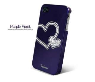 Purple Love Heart Swarovski Diamond Crystal Hard Case Cover For iphone