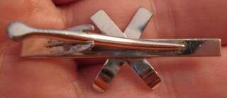 Older STERLING Crossed Skis & Bindings H.L.P. Tie Clasp