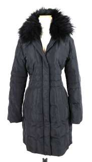 MADISON Long Black Quilted FIN RACCOON FUR TRIM DOWN COAT M