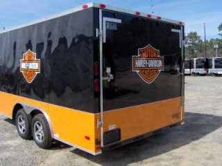 x16 enclosed motorcycle cargo 4 bike trailer Harley Davidson ramp