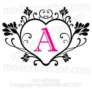 Personalized Monogram Vinyl Wall Decal HEART Flourish
