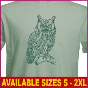 OWL Bird Animal lover Vintage Graphic tee green T shirt
