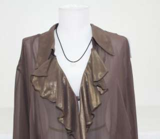 NWT DANA KAY BROWN GOLD SHEEN RUFFLE FRONT BLOUSE 26W C14