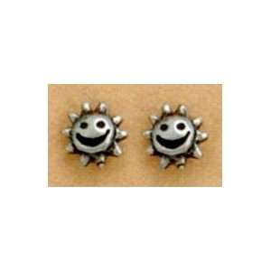Oxidized Sterling Silver Smiling Sun Post Stud Earrings, 1