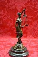 Art Deco 100% Solide Bronze Sculpture Statue Figure Lady Justice