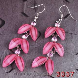 Fashion pink alloy rhinestone Necklace Earring Set